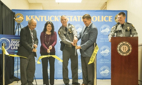 Officials from EKU and Kentucky State Police cut the ribbon on a new crime lab.