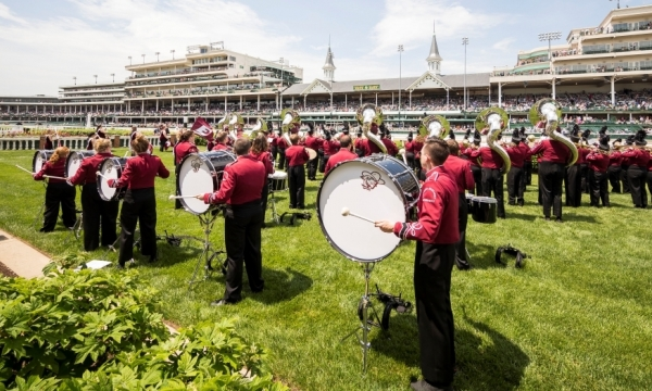 The EKU band plays at Churchill Downs