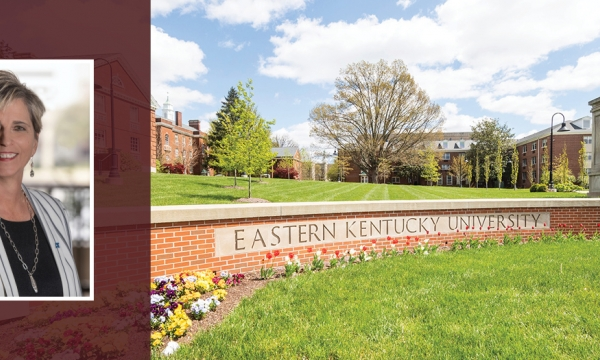 Kathy Dieringer photo over a photo of EKU campus