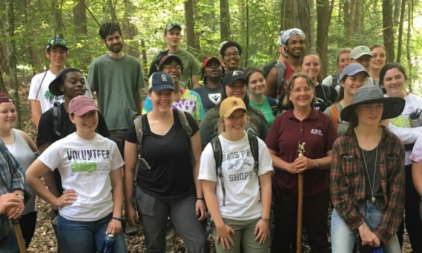 Hikers at the Lilley Cornett Woods Camp