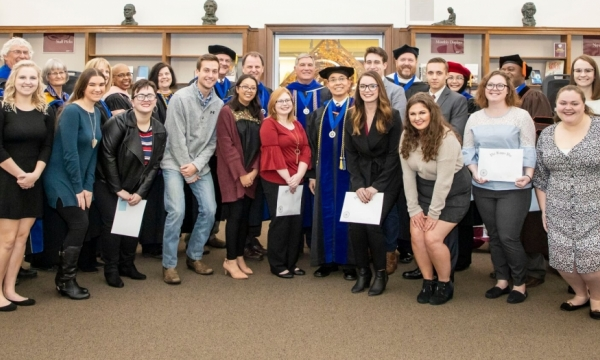 Students inducted into Phi Kappa Phi in November 2018