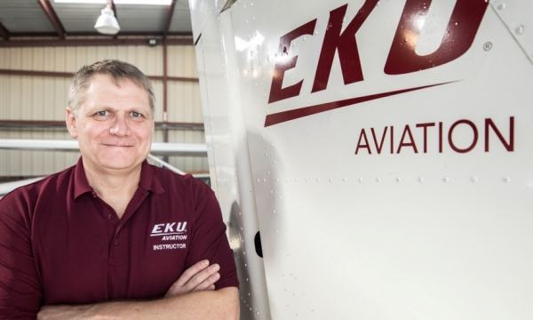 Sean Howard in an EKU Aviation shirt