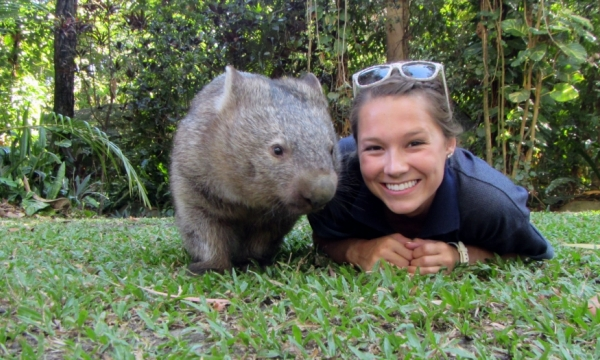 photo of Veronica Seawall in Australia with wombat