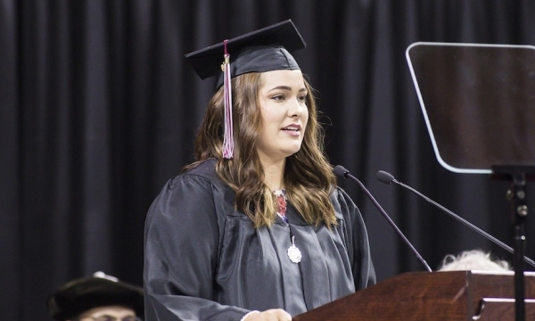Taylor Edwards speaks at graduation