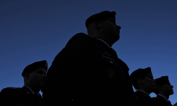 Veterans in silhouette photo