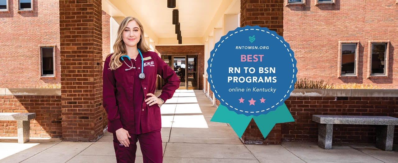 """EKU nursing student and ribbon graphic with text """"Best RN to BSN Programs"""""""