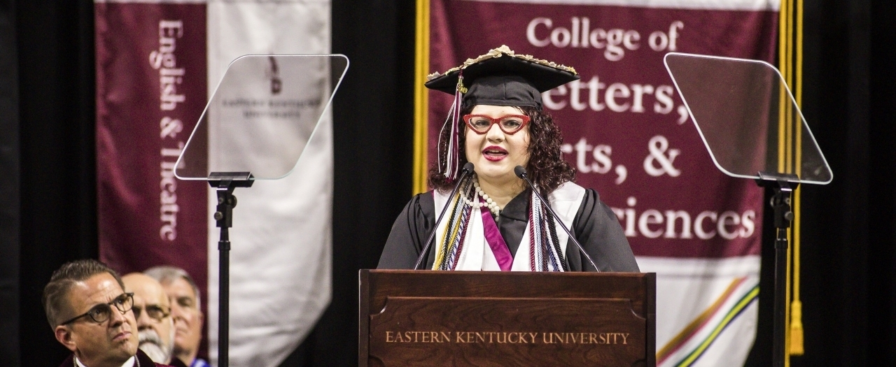 Kelli Jo Blair speaks at EKU graduation.