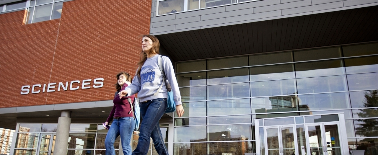 EKU Students walking in front of the New Science Building.