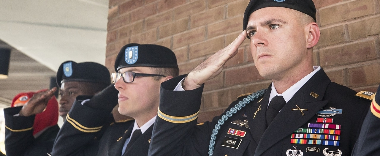 EKU military students salute