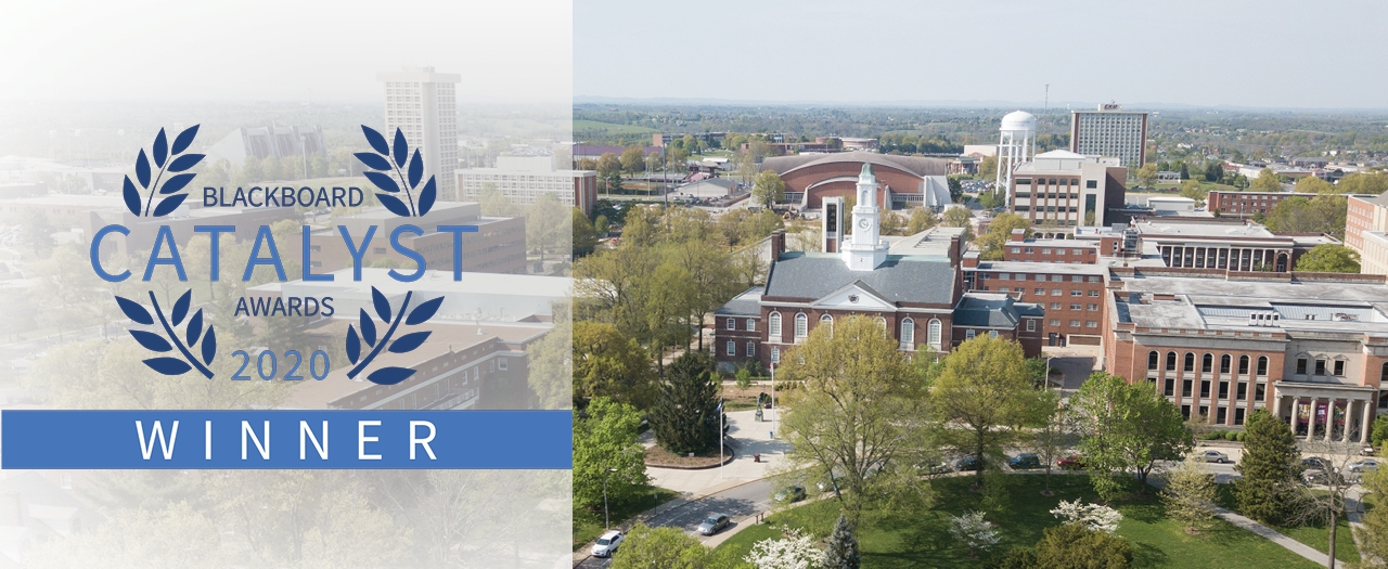 Blackboard Catalyst Awards 2020 Winner logo and overhead image of EKU campus