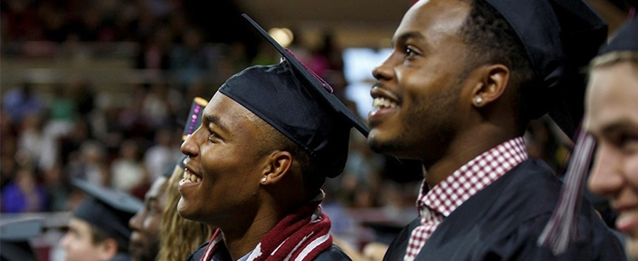 student-athletes at commencement file photo