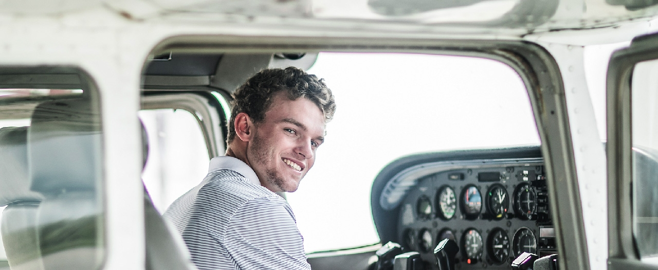Ethan Youngblood: Aviation Student in airplane cockpit