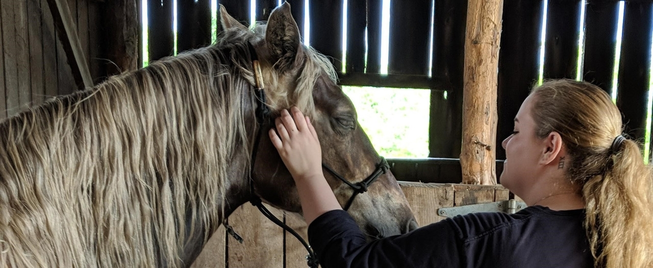 student with horse photo