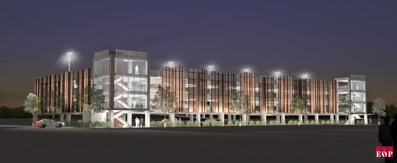 architect's rendering of parking garage