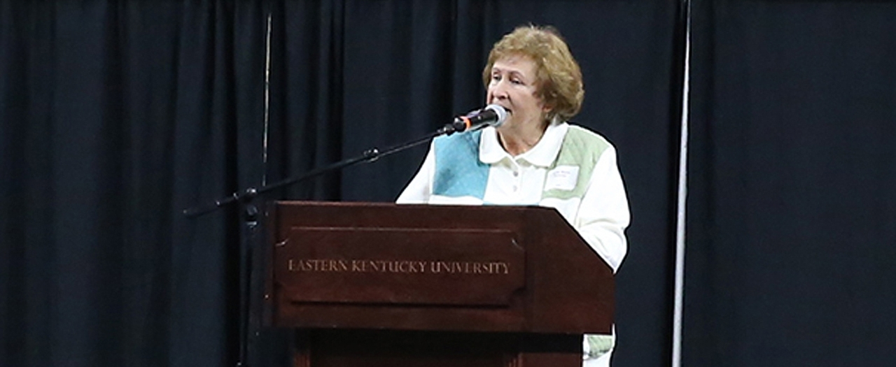 Sandy Martin speaks at luncheon photo