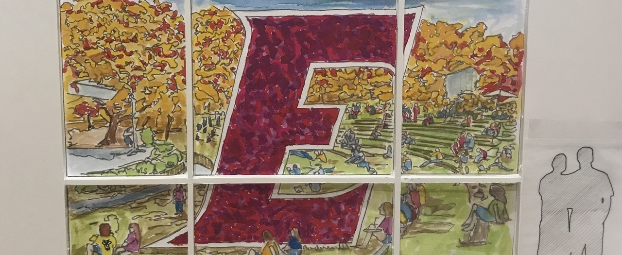 One of two stained-glass window renderings.
