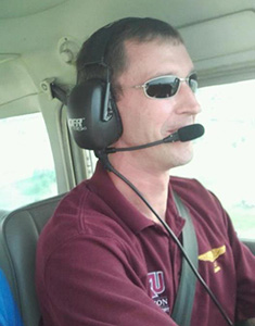 EKU Aviation Student Dustin Ratliff flying a plane