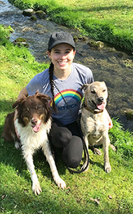 Skylar Barger with her dogs, Ozzy and Marble